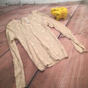Free People Knit Lace Long Sleeve Shirt